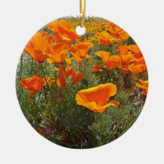 Orange Mohnblumen-Feld der Blumen Keramik Ornament