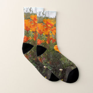 Orange Mohnblumen-Feld der Blumen Socken