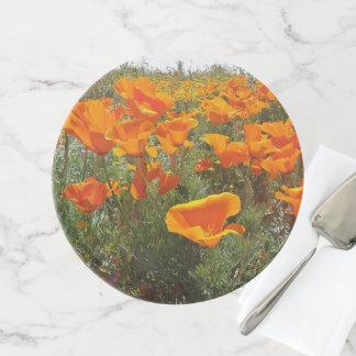 Orange Mohnblumen-Feld der Blumen Tortenplatte