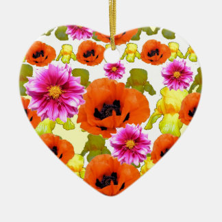 ORANGE MOHNBLUMEN-PINKFARBENE KERAMIK ORNAMENT