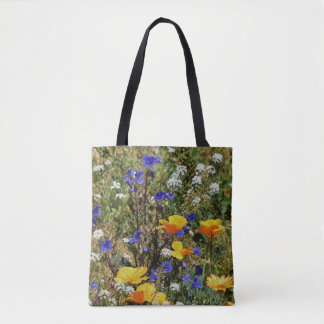 Orange Mohnblumen und Bluebells-strukturierte Tasche