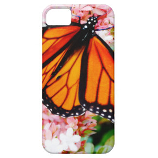 Orange Monarch auf rosa Blumen iPhone 5 Hülle