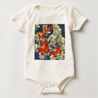 Orange Monarchfalter-Narzissen-Kunst Baby Strampler