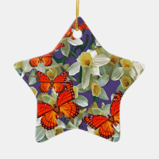 Orange Monarchfalter-Narzissen-Kunst Keramik Ornament