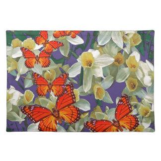 Orange Monarchfalter-Narzissen-Kunst Tischset