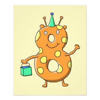 Orange Monster der Nr. 8 für 8. Geburtstag Flyerbedruckung