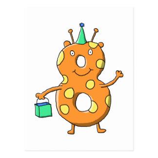 Orange Monster der Nr. 8 für 8. Geburtstag Postkarte