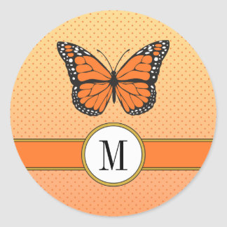 Orange Ombre u. Runder Aufkleber