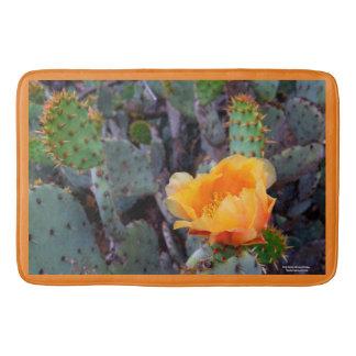 Orange Opuntiekaktus-Blumen-Foto der stacheligen Badematte