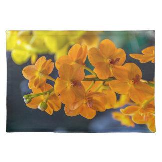 Orange Orchideen-Tischset Stofftischset