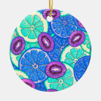 Orange Pampelmuse und Kiwi des flippigen Musters Keramik Ornament