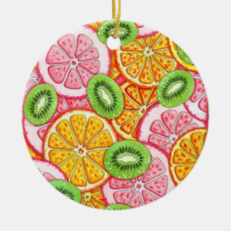 Orange Pampelmuse und Kiwi des Sommermusters Keramik Ornament