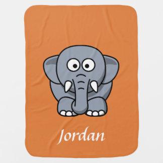 Orange personalisierte Elefant-Decke Babydecke