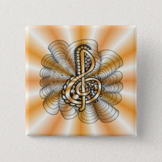Orange Personalizable dreifacher Clef-Musik-Kunst Quadratischer Button 5,1 Cm