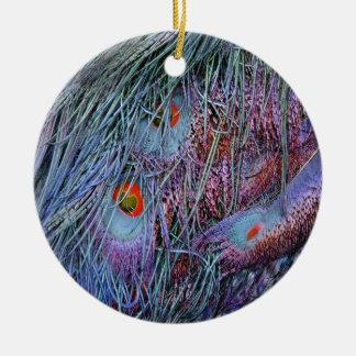 orange Pfaufedern des Vulkans Rundes Keramik Ornament