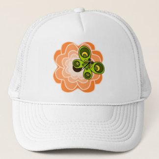 Orange Pfingstrose mit Schmetterling Truckerkappe