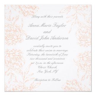 Orange Pfingstrosen-Vintage Hochzeits-Einladung Quadratische 13,3 Cm Einladungskarte