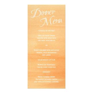 Orange Pfirsichwatercolor-Hochzeits-Empfangs-Menü Werbekarte