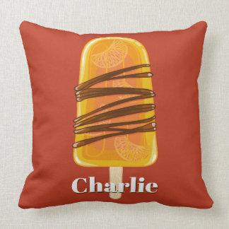 Orange Popsicle-individueller Name u. Kissen