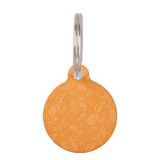 Orange Retro Blumenpaisley Haustiermarke