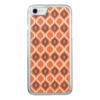 Orange Retro geometrisches Ikat Stammes- Carved iPhone 8/7 Hülle