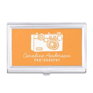 Orange Retro Kamera-Fotograf Visitenkarten Etui
