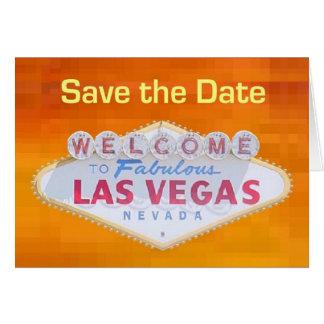 Orange Retro Save the Date Las Vegas Karte 3 D