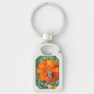 Orange Ringelblumen-Bienen-Blume Schlüsselanhänger