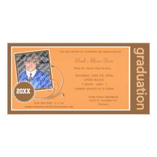 Orange Rolle-Abschluss-Foto-Einladung Bildkarte