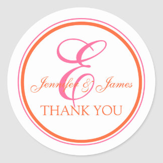 Orange Rosa danken Ihnen Aufkleber für Hochzeiten