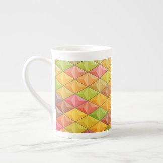 Orange rosa Kubismus-geometrisches Muster Porzellantasse