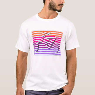 orange rosa lila Streifen des weiblichen T-Shirt