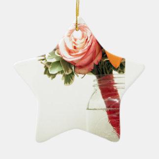 orange Rose des Hochzeits-Blumen-Rosas fertigen Keramik Ornament