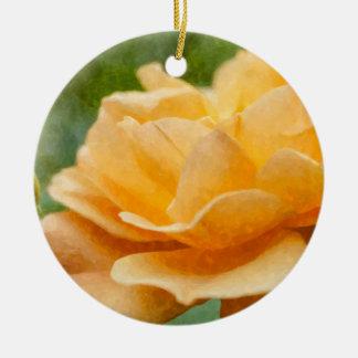 Orange Rose Painterly Keramik Ornament