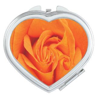 Orange Rosen-Blume Vertrags-Spiegel Taschenspiegel