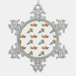 orange Rosenmuster Schneeflocken Zinn-Ornament