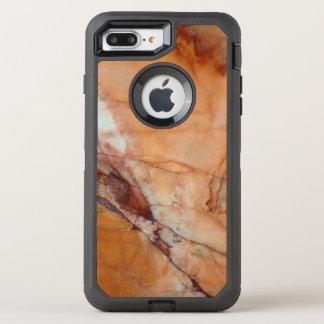 Orange Rot-und Weiß-Marmor OtterBox Defender iPhone 8 Plus/7 Plus Hülle