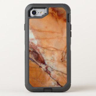 Orange Rot und Weiß Veined Marmor OtterBox Defender iPhone 8/7 Hülle