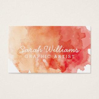 Orange + Rote Aquarell-Visitenkarte Visitenkarten