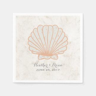 Orange rustikale Seashell-Hochzeit Papierserviette