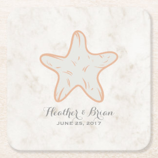 Orange rustikale Starfish-Hochzeit Rechteckiger Pappuntersetzer