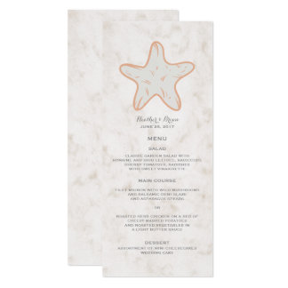 Orange rustikales Starfish-Hochzeits-Menü 10,2 X 23,5 Cm Einladungskarte