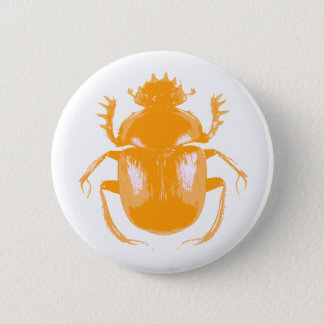 Orange Scarabäus-Käfer-Knopf Runder Button 5,7 Cm