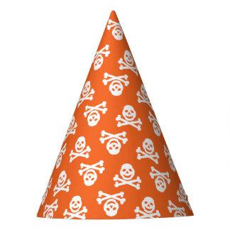 Orange Schädel-Party-Hut Partyhütchen