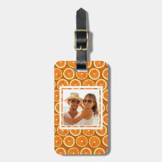 Orange Scheibe-Muster | addieren Ihr Foto Gepäckanhänger
