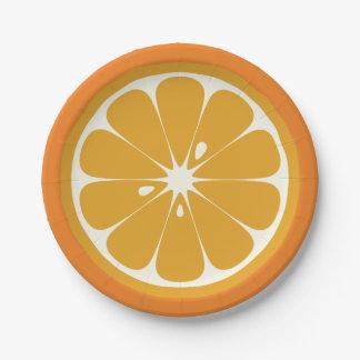 Orange Scheibe Pappteller
