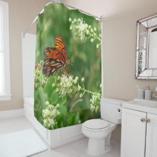 Orange Schmetterlings-Duschvorhang Duschvorhang