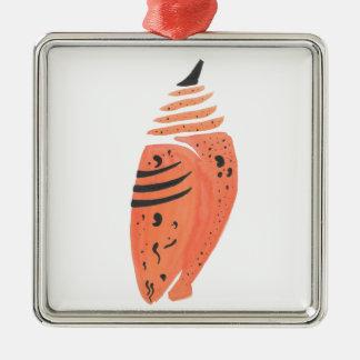 Orange Schmetterlings-Kokon Silbernes Ornament