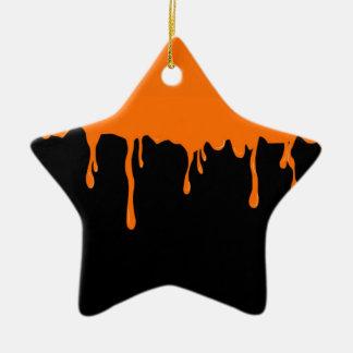Orange Schmiere Keramik Stern-Ornament