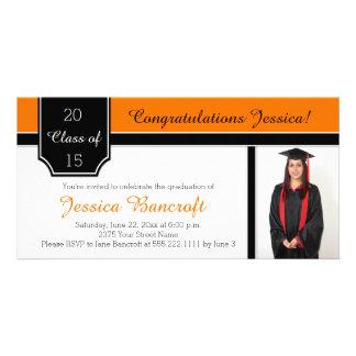 Orange Schwarz-weiße Foto-Abschluss-Einladung Fotokartenvorlagen